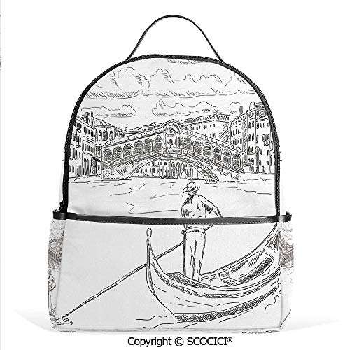 All Over Printed Backpack Rialto Bridge with Gondola Romantic Italian Landmark Inspired Sketchy Cityscape Decorative,Black White,For Girls Cute Elementary School Bookbags