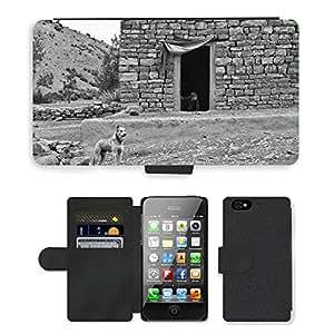 PU LEATHER case coque housse smartphone Flip bag Cover protection // M00133367 Dog Farm Boy Inicio Casa Pobre // Apple iPhone 4 4S 4G
