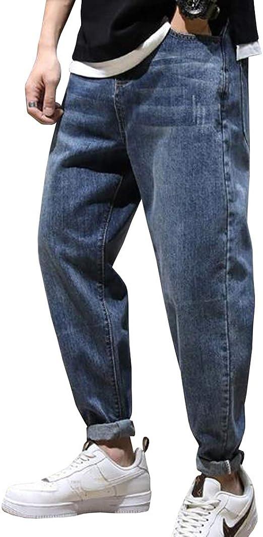 Feellway メンズ ジーンズ ストレートパンツ 着痩せ スリム 春秋 デニムパンツ 大きいサイズ C0542
