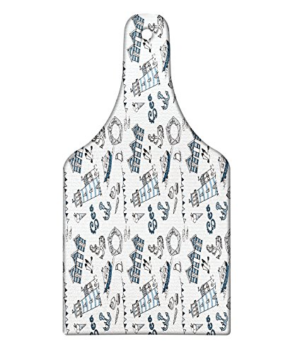 Lunarable Doodle Cutting Board, Nautical Elements Boats Anchors Ice Cream Life Buoy Ocean Theme Print, Decorative Tempered Glass Cutting and Serving Board, Wine Bottle Shape, Slate and Baby Blue White Boats & Buoys Glass Print