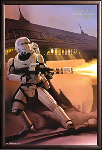 Framed Star Wars - The Force Awakens - Empire Stormtrooper Flamethrower 24x36 Poster in Rust Finish Wood Frame (Art Flames Wall Copper)