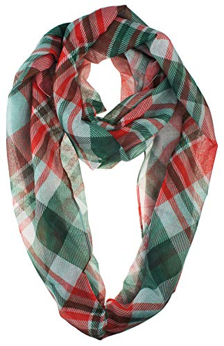 VIVIAN & VINCENT Soft Light Weight Christmas Holiday Plaid Tartan Sheer Infinity Scarf Red Green White