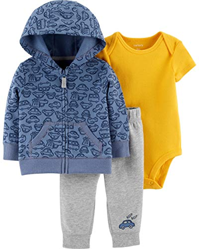 Carter's Baby Boys` 3-Piece Little Jacket Set, Cars, 9 Months, Blue, Black and Yellow