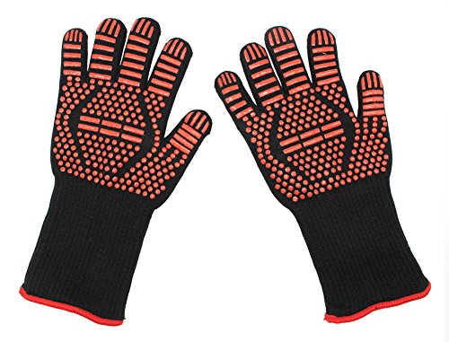 BBQ Heat Resistant Silicone Gloves Extreme Heat Resistant 14