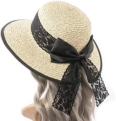 ccf097ad Amazon.com: Hollosport Women Fashion Beach Straw Sun Hat, UV ...