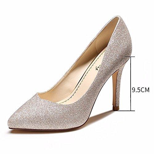 HXVU56546 Zapatos De Mujer Primavera Y Otoño Nueva Boca Superficial Señaló Stilettos Light gold