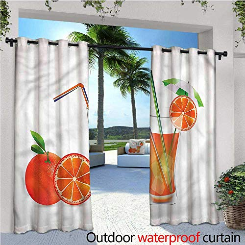 (warmfamily Green and Orange Balcony Curtains Orange Juice Glass Outdoor Patio Curtains Waterproof with Grommets W120 x L96 )