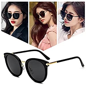 Vintage Round Wayfarer Polarized Sunglasses for Women | 100% UV400 Protection | With Case