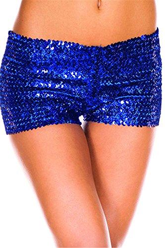 [Crazy.Bold Women's Sexy Sequin Shorts Panties] (Blue Sequin Corset)