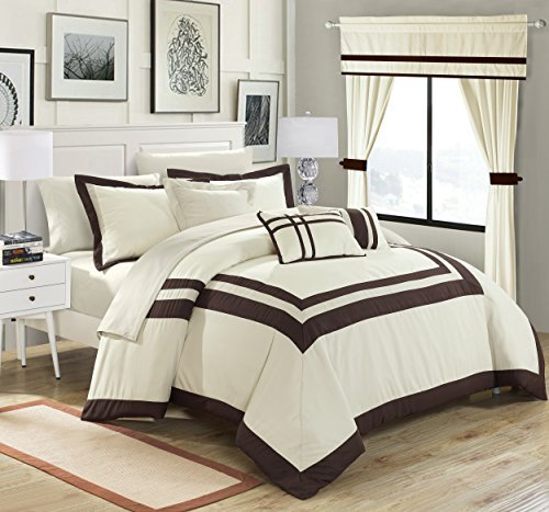 Chic Home Ritz 20 Piece Comforter Set Color Block Bed in a Bag with Sheets Curtains, King Beige
