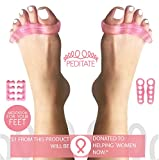 Gel TOE SEPARATORS and Toe STRECHERS Kit Pink By PEDITATE: Instant RELIEF For Common Feet Problems. Bunion CORRECTOR, Hammer Toes & More! - SUPPORTS National BREAST CANCER Foundation Pink