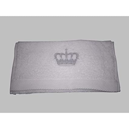 Toalla de baño, toalla de manos, diseño de corona, de colour blanco con