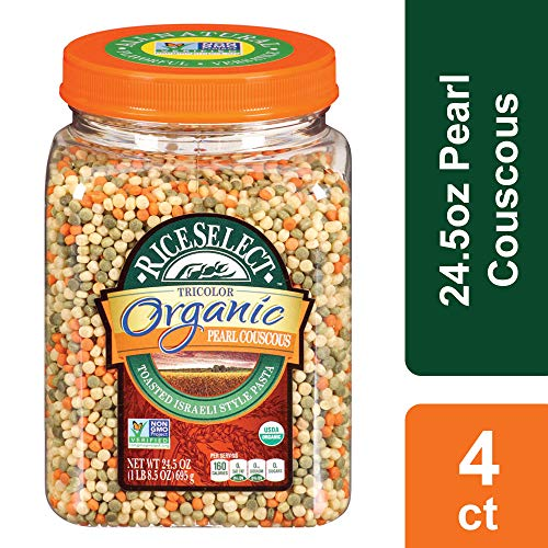 (RiceSelect Organic Tri-Color Pearl Couscous, 24.5 oz (Pack of 4) )