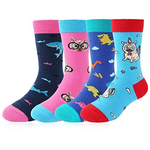 (Kids Boy's Novelty Funny Crew Socks Cute Animal Sport Cotton Socks 4 Pack with Gift)
