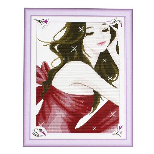 ho a Mano de Punto de Cruz patrón de diseño Chica kit contado Marrón Rojo ()
