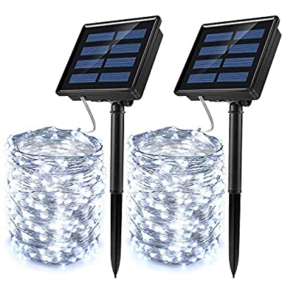 JosMega Upgraded Larger Solar Powered String Lights 2 Pack 33 ft 100 LED 8 Modes Waterproof IP65 Twinkle Lighting Indoor Outdoor Fairy Firefly Lights Auto ON / OFF (2 Pack 33 ft 100 LED, White)