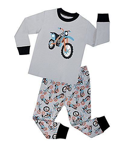SMHONG Cartoon Motorcycle Kids Pajamas Sets Long Sleeve Red 100% Cotton Sleepwear Size 2-8 Years (2-3Years) ()
