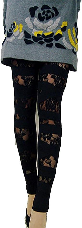 Gladiolus Pantalones Ajustados Mujer Pantalones De Encaje Floral Leggins Pantalones Negro Talla Unica Amazon Es Ropa Y Accesorios