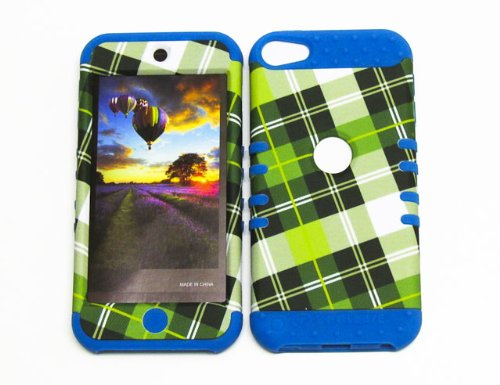 HYBRID SHOCK RESISTANT MEGACOVER SOLID CASE AND LIGHT BLUE SKIN WITH STYLUS PEN KOOLKASE ROCKER FOR Apple IPod ITouch 5 PLAID LB-TE294