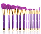 Best Professional Makeup Brushes Qivange Makeup Brush Set Professional Soft Cosmetic Liquid Foundation Powder Brushes With Multifunctional Bag, Purple With Gold (15 Pieces)