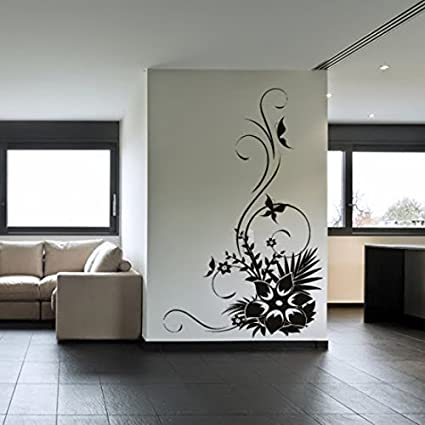 Buy DeStudio Flowers Butterflies Floral Home Art Decor Removable Vinyl Room  Wall Sticker, Size : TINY, Color : WHITE Online At Low Prices In India    Amazon. ...