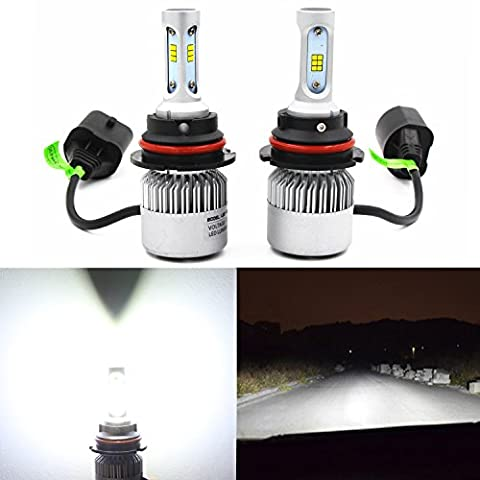 Alla Lighting Extremely Super Bright High Power CSP Chipset HB5 9007 9007LL LED Headlight Bulbs w/ 8000Lm 6500K Xenon White for Replacing High Low Beam Halogen Headlamp All-in-One Conversion - Nissan Frontier Headlight Replacement