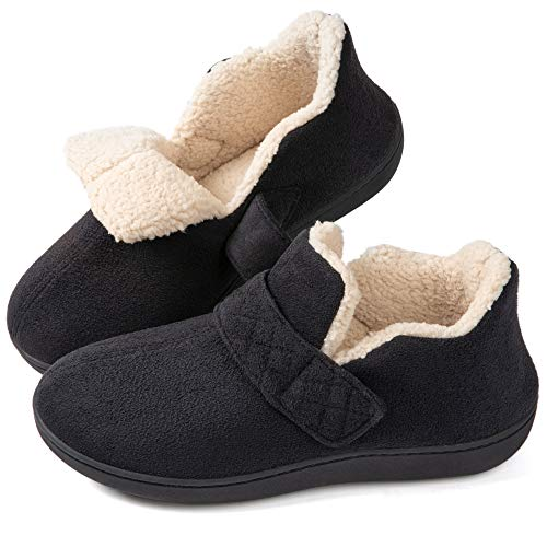 ZIZOR Women's Cozy Memory Foam Slippers with Adjustable Closure Strap, Fleece Lining Closed Back House Shoes with Anti…