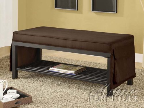 Chocolate Fabric & Metal Bench #AC 110075