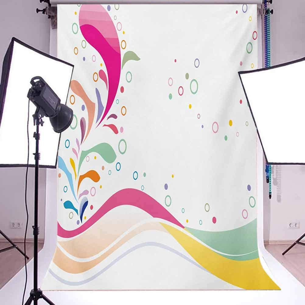 6.5x10 FT Photo Backdrops,Cute Vivid Bubbles Circular Dots with Flower Leaves Kids Girls Baby Childish Design Background for Baby Shower Birthday Wedding Bridal Shower Party Decoration Photo Studio