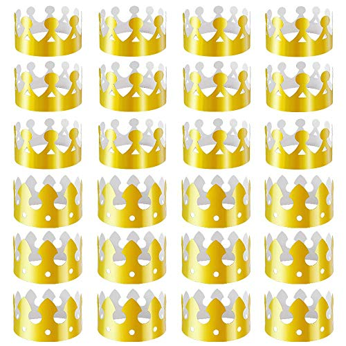 Brozn 24 Pieces Golden King Crowns Gold Foil Paper Party Crown Hat Cap for Party Supplies Birthday Celebration Baby Shower and Photo Props