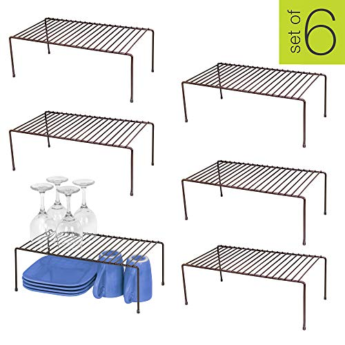 Smart Design Kitchen Storage Shelf Rack w/Plastic Feet – Large – Steel Metal – Rust Resistant Finish – Cups, Dishes, Cabinet & Pantry Organization – Kitchen (16 x 6 Inch) [Bronze] – Set of 6