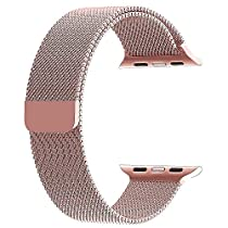 top4cus Double Electroplating 38mm Milanese Loop Stainless Steel Replacement iWatch Band with Magnetic Closure Clasp for Apple Watch 38mm - Rose gold