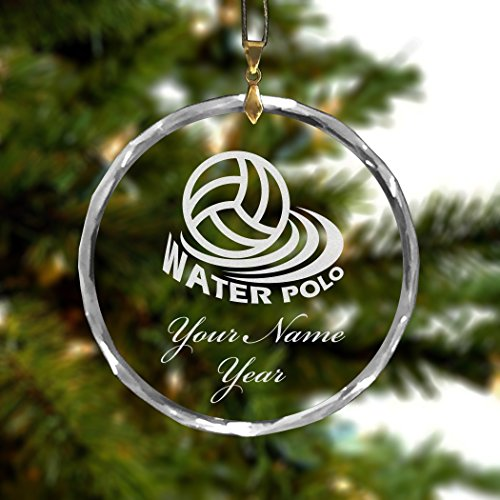 Personalized Round Glass Christmas Ornament - Water Polo - Engraved For Free