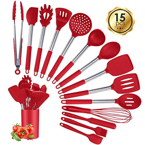 Silicone Cooking Utensil Sets, 15 pcs Kitchen Utensils Set, Non-stick Heat Resistant Silicone Cookware with Stainless…