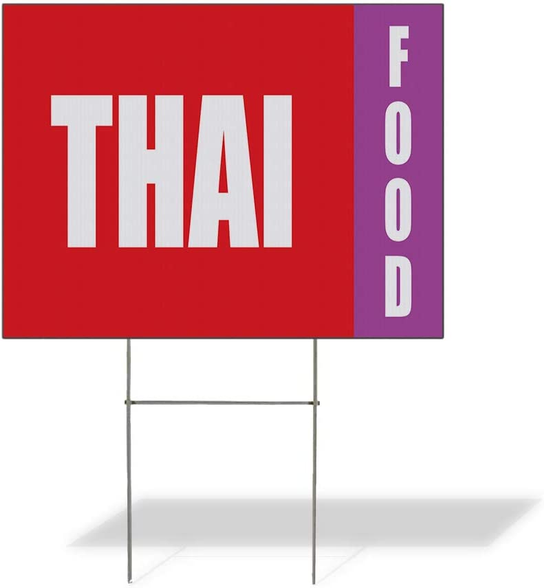 Weatherproof Yard Sign Thai Food Fair Promotion Business Red Lawn Garden 18x12 Inches 2 Sides Print