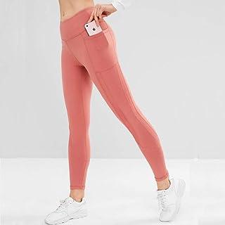 ZMJY Medias Yoga para Deportes, Leggings Sudor Travieso Pantalones de Cintura Alta Gimnasio Pantalones Mujeres para Hacer Ejercicio Caminar Bailar y Correr, Extra Suave,Brickred,M