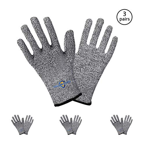 Golden Scute Cut Resistant Work Gloves, PPE Hand Protection Gloves, Ideal for Gardening, Kitchen, Fishing, Cleaning, Garments Cutting, General Handing, Metal Fabrication, 3 Pairs (Large/Size 9)