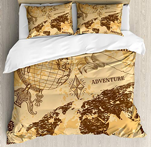 Ambesonne Steampunk Duvet Cover Set, Pattern with Abstract World Map Rope Knots Sketch Adventure Theme, Decorative 3 Piece Bedding Set with 2 Pillow Shams, King Size, Brown Orange