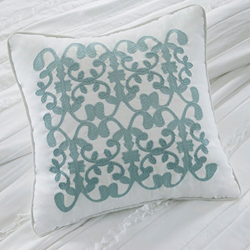 Madison Park Celeste Duvet Cover Full/Queen Size - White , Ruffle Stripes Duvet Cover Set - 4 Piece - Ultra Soft Microfiber Light Weight Bed Comforter Covers