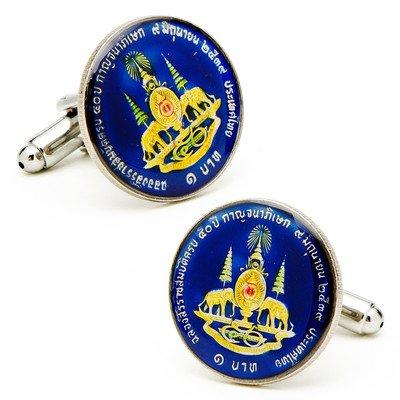 Details about  /Thailand enamelled coin cufflinks 19mm.