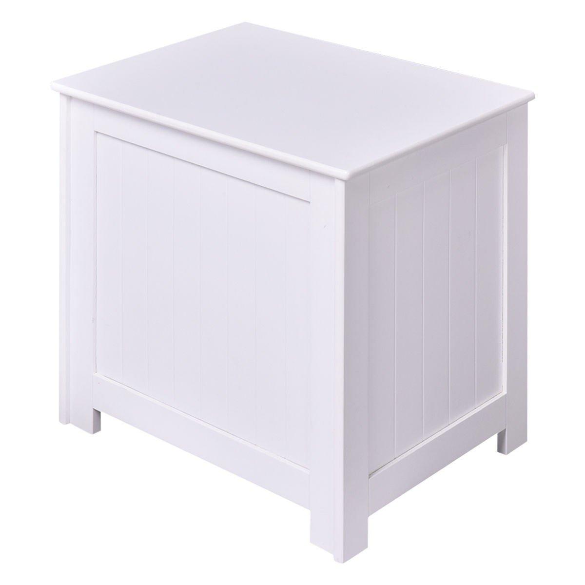 Apontus White Wood Laundry Hamper Clothes Storage Basket