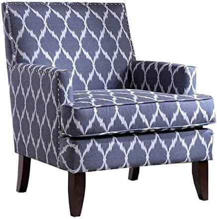 Madison Park Colton Accent Hardwood, Brich Wood, Ogee Print, Bedroom Lounge Mid Century Modern Deep Seating, High Back Club Style Arm-Chair Living Room Furniture, See below, Blue White