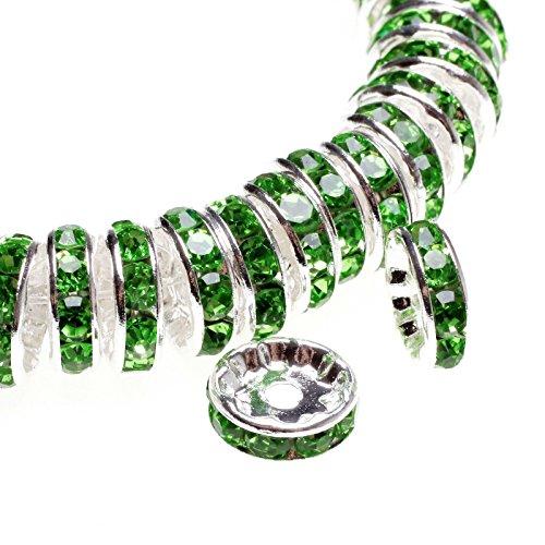 100 pcs Green Leaf Rhinestone Spacer Crystal Beads 10mm
