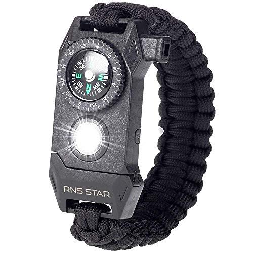 RNS STAR Paracord Survival Bracelet 6-in-1 - Hiking Gear Traveling Camping Gear Kit - 70% Bigger Compass LED SOS Emergency Function Flashlight,Fire Scrapper,Flint Fire Starter,Survival Knife (Black)