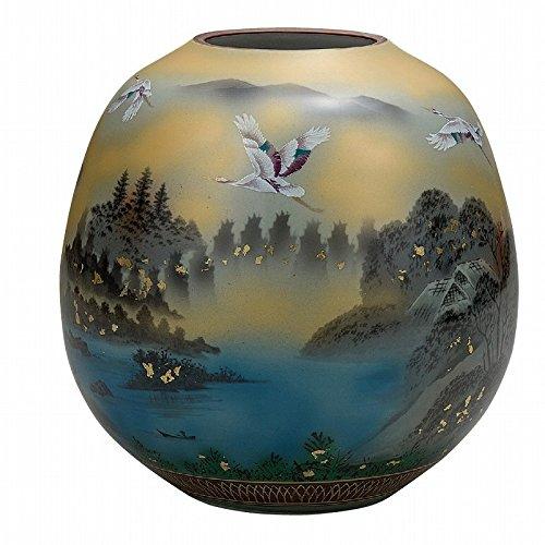 Jpanese traditional ceramic Kutani ware. Ikebana flower vase. Gold leaf crane sansui. With wooden box. ktn-K5-1325