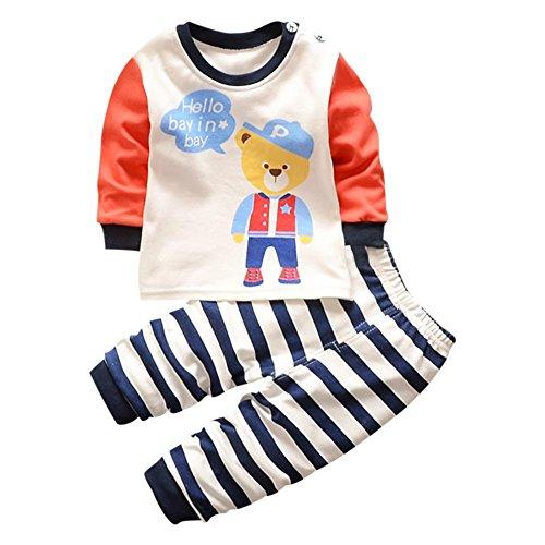 chinatera Baby Cotton Pajama Set Toddlers Cartoon Bear Print Thermal Sleepwear Homewear (6M-5T)