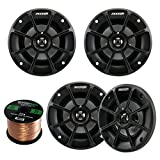4 X Kicker 40PS42 4'' Inch Weather-Proof Powersports Vehicles 2-Way 2-Ohm Coaxial ATV, Motorcycle, Marine, Boat, Speakers (2 Pair) Bundle With Enrock 16g 50 Feet Speaker Wire