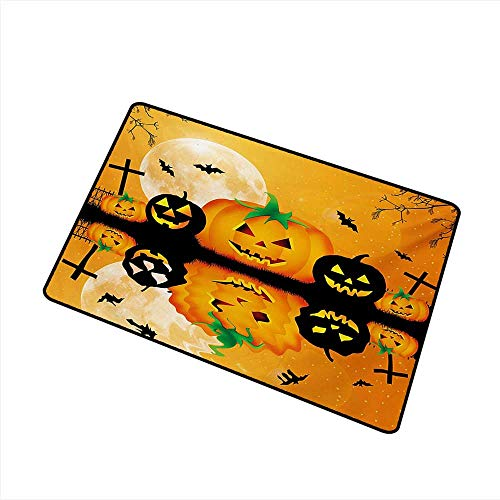duommhome Door mat Halloween Spooky Carved Halloween Jack o Lantern and Full Moon with Bats and Grave Lake W24 xL35 Suitable for Outdoor and Indoor use]()
