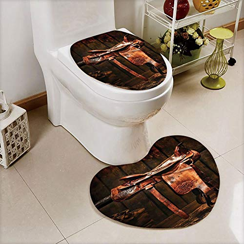 iPrint 2 pcs Toilet Cover Set Non-Slip mat Bathroom Non-Slip mat,Authentic Style Rodeo Cowboy Saddle Wood Ranch,3D Print Heart Shape Toilet seat Cushion Customized Fashion