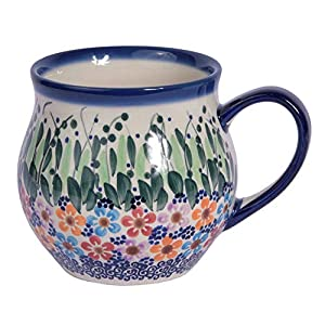 Traditional Polish Pottery, Handcrafted Ceramic Bubble Mug (350ml), Boleslawiec Style Pattern, Q.502.Daisy